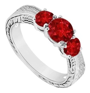 LoveBrightJewelry Created Ruby Three Stone Ring 925 Sterling Silver 0.50 CT TGW