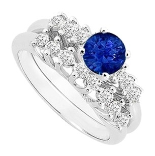 LoveBrightJewelry Created Sapphire and Cubic Zirconia Engagement Ring with Wedding Band Set 925 Sterling Silver 0.75 Carat