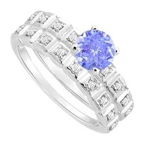 LoveBrightJewelry Created Tanzanite and Cubic Zirconia Engagement Ring with Wedding Band Set 925 Sterling Silver