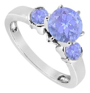 LoveBrightJewelry Created Tanzanite Three-Stone Ring in Sterling Silver 1.50 ct. t.w.