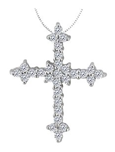 LoveBrightJewelry Cross Diamond Pendant in 14K White Gold Half a Carat Diamonds