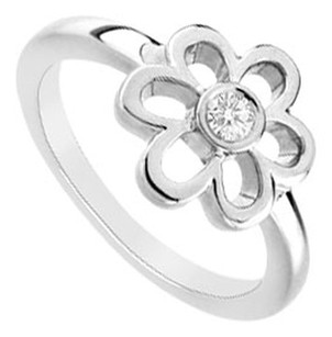 LoveBrightJewelry Cubic Zerconia Flower Ring 925 Sterling Silver 0.10 CT TGW