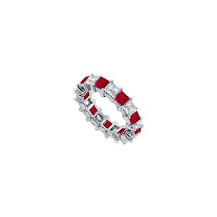 LoveBrightJewelry Cubic Zirconia And Created Ruby Eternity Band 925 Sterling Silver 4.00 Ct Tgw