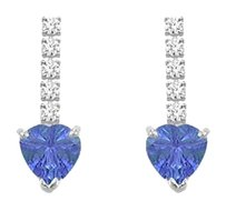 LoveBrightJewelry Cubic Zirconia and Created Tanzanite Earrings 925 Sterling Silver 1.25 CT TGW