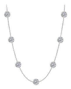 LoveBrightJewelry Cubic Zirconia By The Yard Necklace in 925 Sterling Silver 5.00 CT TW
