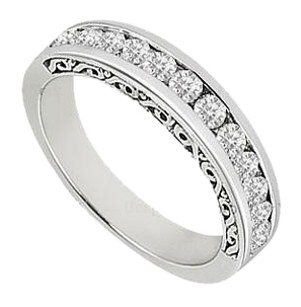 LoveBrightJewelry Cubic Zirconia Channel Set Half Eternity Wedding Band Sterling Silver 0.35 CT CZs