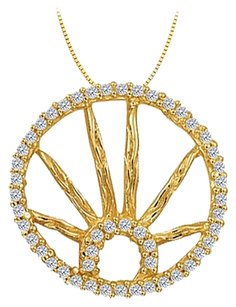 LoveBrightJewelry Cubic Zirconia Circle Fashion Pendant in Gold Vermeil over Sterling Silver 0.25 CT TGW