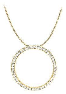 LoveBrightJewelry Cubic Zirconia Circle Pendant in Gold Vermeil 1.00 CT TGW,Jewelry Gift