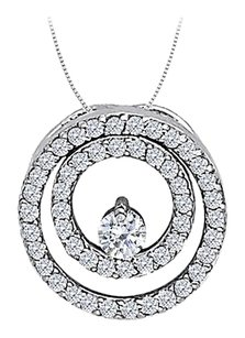 LoveBrightJewelry Cubic Zirconia Double Circle Pendant in Sterling Silver 0.50 CT TGW,Jewelry Gift for Women