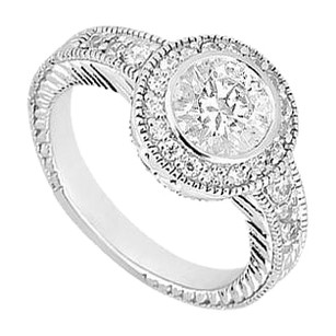 LoveBrightJewelry Cubic Zirconia Engagement Ring 925 Sterling Silver 0.75 CT TGW