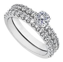 LoveBrightJewelry Cubic Zirconia Engagement Ring with Sterling Silver Wedding Band Set 1.50 CT TGW