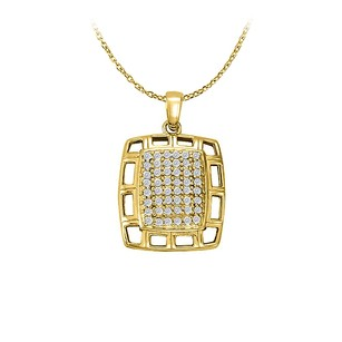 LoveBrightJewelry Cubic Zirconia Fancy Square Fashion Pendant in 18k Yellow Gold