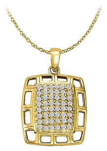 LoveBrightJewelry Cubic Zirconia Fancy Square Fashion Pendant in 18k Yellow Gold Vermeil Jewelry Gift for Women