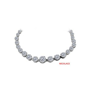 LoveBrightJewelry Cubic Zirconia Graduated Necklace in 14K White Gold