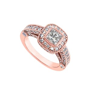 LoveBrightJewelry Cubic Zirconia Halo Engagement Rings In 14k Rose Gold Vermeil 1.5 Ct Tgw April Birthday Gift