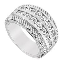 LoveBrightJewelry Cubic Zirconia Ring 14K White Gold 0.75 CT Cubic Zirconia