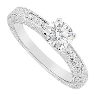 LoveBrightJewelry Cubic Zirconia Round and Channel Set Engagement Ring in Sterling Silver 0.60 Carat CZs