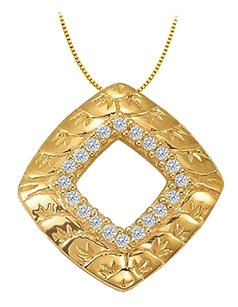 LoveBrightJewelry Cubic Zirconia Square Shaped Pendant in Gold Vermeil over Sterling Silver 0.10 CT TGW