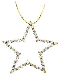 LoveBrightJewelry Cubic Zirconia Star Pendant in Gold Vermeil over Sterling Silver 1.00 CT TGW,Jewelry Gift