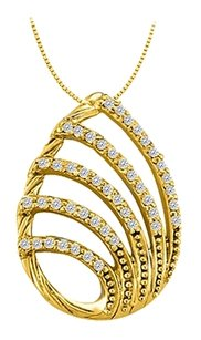 LoveBrightJewelry Cubic Zirconia Tear Drop Fashion Pendant in Gold Vermeil over Sterling Silver 0.25 CT TGW