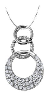 LoveBrightJewelry Cubic Zirconia Triple Circle Pendant in Sterling Silver 0.33 CT TGW,Jewelry Gift for Women