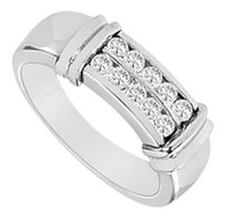 LoveBrightJewelry Cubic Zirconia Wedding Band 14K White Gold 0.33 CT Cubic Zirconia