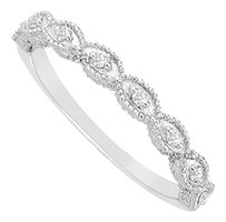 LoveBrightJewelry Cubic Zirconia Wedding Band Sterling Silver 0.10 CT CZs