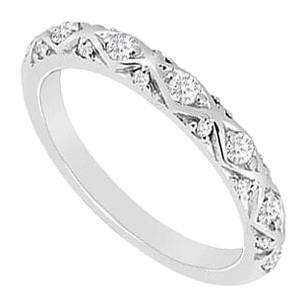 LoveBrightJewelry Cubic Zirconia Wedding Band Sterling Silver 0.15 CT CZs