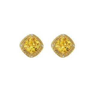 LoveBrightJewelry Cushion Cut Citrine Bezel Set CZ Stud Earrings Vermeil