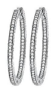 LoveBrightJewelry CZ 36mm 3 Sided Inside Out Hoop Earrings in White Rhodium over Sterling Silver