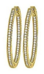 LoveBrightJewelry CZ 36mm 3 Sided Inside Out Hoop Earrings in Yellow Rhodium over Sterling Silver