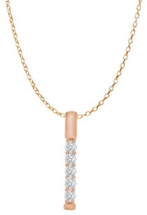 LoveBrightJewelry CZ 5 Stone Vertical Bar Pendant Rose Gold with Chain