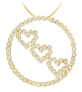 LoveBrightJewelry CZ Circle and Heart Pendant Over 18K Yellow Gold Vermeil Sterling Silver 1.25 CT Tgw