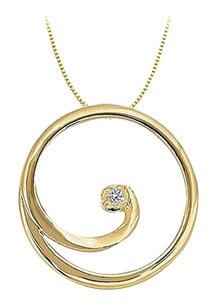 LoveBrightJewelry CZ Circle Pendant in Gold Vermeil over Sterling Silver 0.02 CT TGW with Vermeil Chain