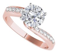 LoveBrightJewelry CZ Elegant Semi Swirl Engagement Ring Rose Gold Vermeil