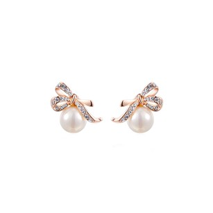 LoveBrightJewelry CZ Fashion Rose Gold Vermeil Bow Knot Pearl Earrings