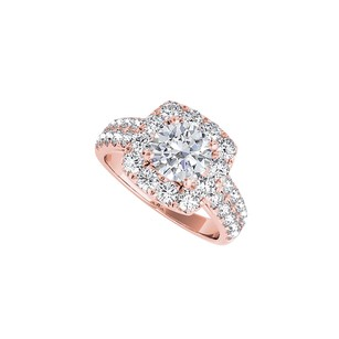 LoveBrightJewelry Cz Halo Engagement Ring In 14k Rose Gold Vermeil