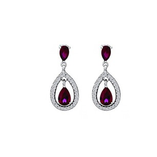 LoveBrightJewelry CZs Rubies Drop Push Back Earrings 925 Sterling Silver