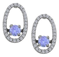 LoveBrightJewelry Dancing Diamonds Earrings with Created Tanzanite and CZ in 925 Sterling Silver