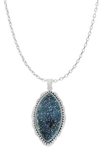 LoveBrightJewelry Dark Blue Druzy Pendant Noa Sterling Silver with Chain