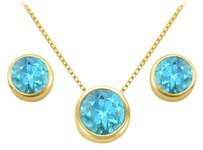 LoveBrightJewelry December Birthstone Blue Topaz Pendant and Stud Earrings Set in 18K Yellow Gold Vermeil