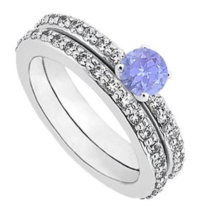 LoveBrightJewelry December Birthstone Created Tanzanite and CZ Engagement Ring with Sterling Silver Wedding Band Set