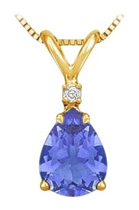 LoveBrightJewelry December Birthstone Tanzanite Teardrop Pendant with Cubic Zirconia in Gold Vermeil over Silver