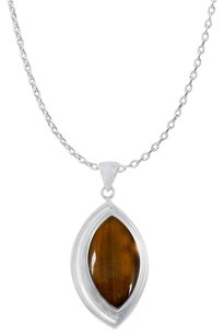 LoveBrightJewelry Designer 925 Silver Pendant with Marquise Tiger Eye