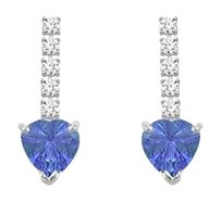 LoveBrightJewelry Diamond and Tanzanite Earrings 14K White Gold 1.25 CT TGW