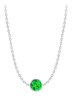 LoveBrightJewelry Diamond By The Yard Emerald Necklace on 14K White Gold