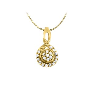 LoveBrightJewelry Diamond Circle and Loop Fashion Pendant in 14K Yellow Gold 0.10 CT