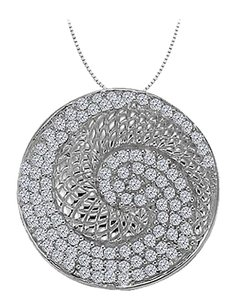 LoveBrightJewelry Diamond Circle Fancy Fashion Pendant in 14K White Gold 0.50 CT TDW