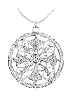 LoveBrightJewelry Diamond Circle Pendant 14K White Gold 0.50 CT Diamonds