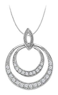 LoveBrightJewelry Diamond Double Circle Pendant in 14K White Gold 0.50 CT TDW